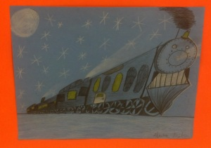 Polar Express in One point perspective- 4th grade